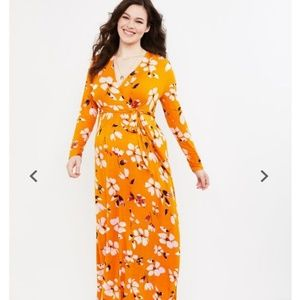 Floral Wrap Long Sleeve Maternity Maxi Dress